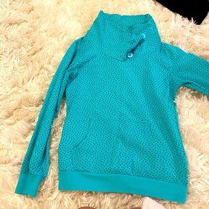 Super cute heart pattern turquoise sweatshirt